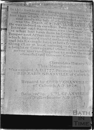 Detail from the inscription on the Lansdown Monument c.1936