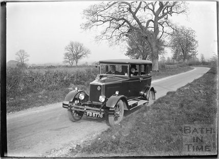 Grand car, possibly near Beckington c.1920s