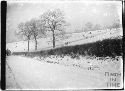 Tobogganing in the fields behind Sydney Buildings c.1920s