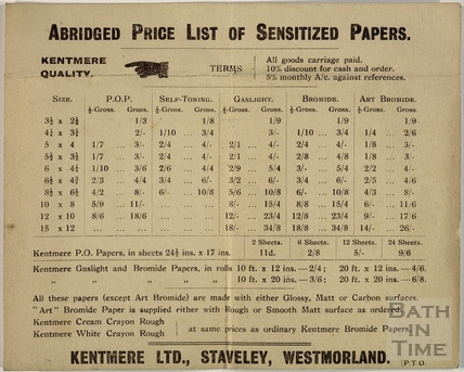 Kenmore Lts, Staveley, Westmorland. Abridged Price List of Sensitized Papers c.1910?