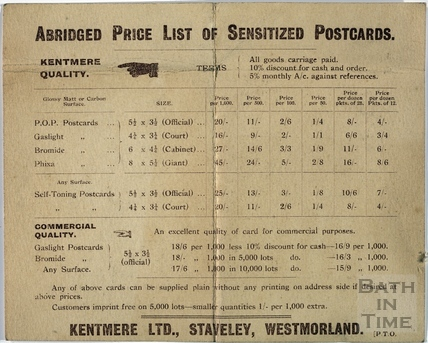 Kenmore Lts, Staveley, Westmorland. Abridged Price List of Sensitized Postcards c.1910?