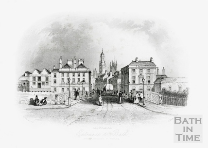 Entrance to Bath from Bristol & Wells over the Old Bridge looking up Southgate Street, Bath 1850