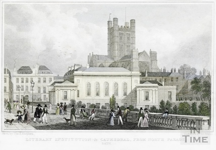 Literary Institution & Cathedral (Abbey) from North Parade (tinted), Bath 1829