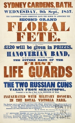 Sydney Gardens Grand Floral Fete and Inaugaration of Russian Guns in Royal Victoria Park 9th Sept 1857