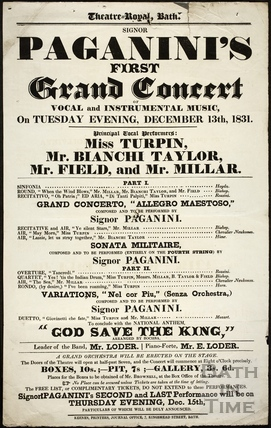 Paganini's First Grand Concert of Vocal and Instrumental Music, Theatre Royal, Bath Tues Dec 13th 1831