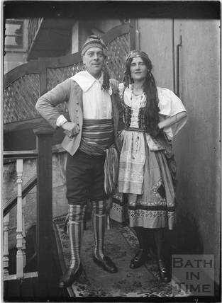 Mr and Mrs Fred Wills from 40 Sydney Buildings in fancy dress costume c.1920s