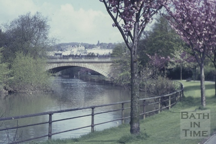 North Parade Bridge and the River Avon, Bath 1960s