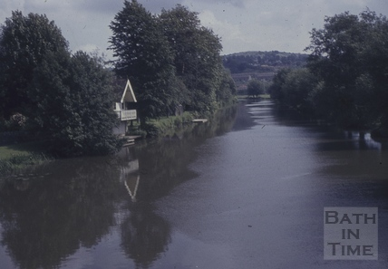 The boathouse and River Avon at Batheaston in flood 1960s