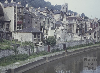 Claverton Street backing onto the River Avon, Widcombe, Bath 1960s