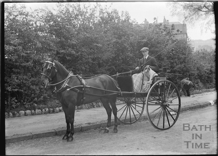 Mr Broadhurst and his pony and trap c.1910s