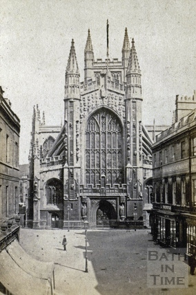 West front of Bath Abbey from Abbey Church Yard c.1870