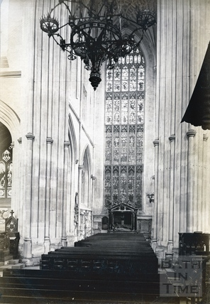 Bath Abbey interior. South transept, showing Lady Waller's tomb c.1900
