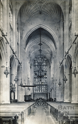 The Nave looking east, Bath Abbey, Bath c.1890