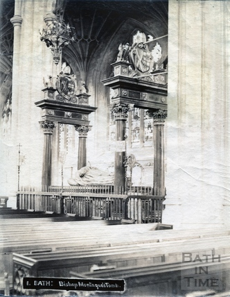 Bishop Montague's Tomb, inside Bath Abbey Dec 1894