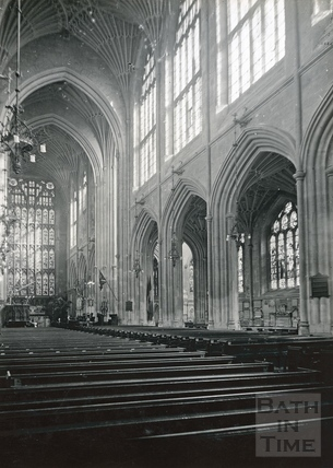 Interior of Bath Abbey. The Nave and south aisle showing the fan vaulting c.1950s?