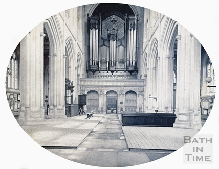 Bath Abbey Nave looking east, showing the organ c.1862