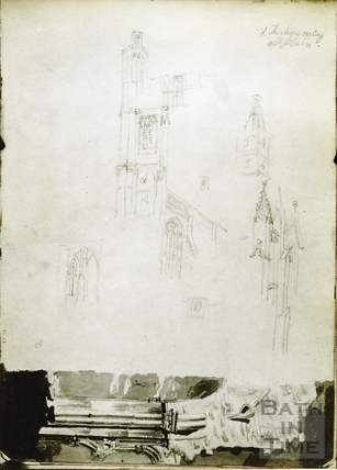 Abbey church exterior, east end. Sketch of detail for drawing by J.M.W. Turner c.1796