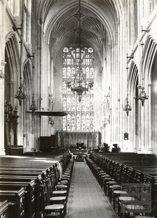 Bath Abbey Interior looking east c.1890