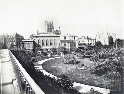 The Bath Royal Literary & Scientific Institute and Parade Gardens viewed from North Parade c.1890