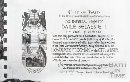 The inscription for the Freedom of the City of Bath, given to Emperor Haile Selassie Oct 18 1954