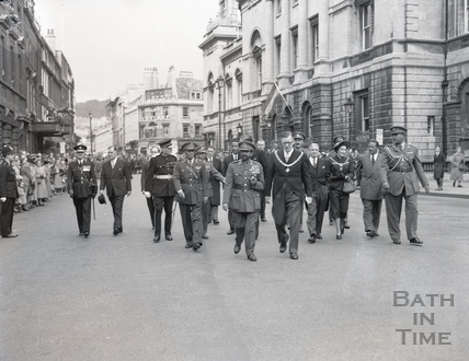 Haile Selassie and the Mayor of Bath Cllr Gallop in Bath High Street, 18 Oct 1954