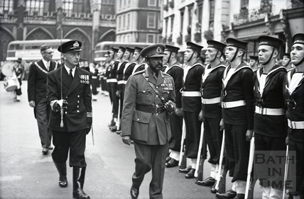 Guard of honour for Emperor Haile Selassie, High Street, Bath October 18th 1954