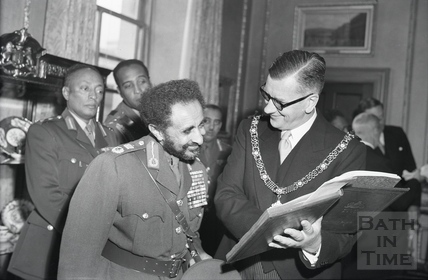Emperor Haile Selassie and the Mayor of Bath, Cllr Gallup, Guildhall Oct 18 1954