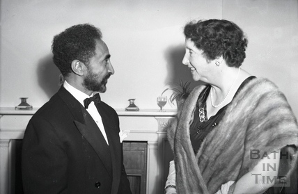 Emperor Haile Selassie chats to the wife of the Mayor of Bath at an official function c.1936
