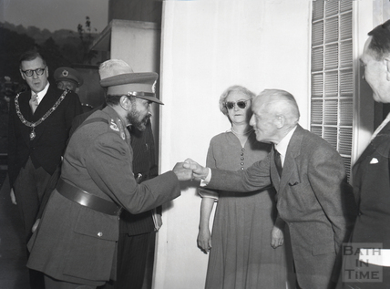 Emperor Haile Selassie and Mayor Cllr Gallop visiting George & Edith Rowland at 2 Ashford Road, Moorfields Estate, 18th Oct 1954