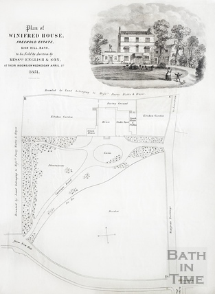 Auction particulars and estate plan, Winifred House, Sion Hill, Bath 1851