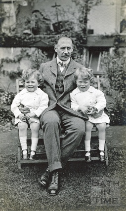 The photographer and his twin boys in his back garden c.1914