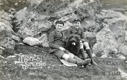 The photographer's twin boys at Bathampton Rocks, c.1922