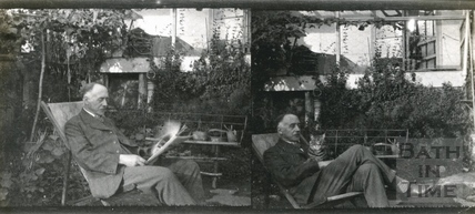 A pair of self portraits of the photographer in his back garden, c.1940s