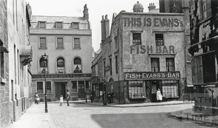 Abbeygate Street, with Evans Fish bar, viewed from Abbey Green c.1900