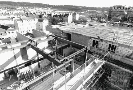 View from St Michaels Church of the Podium Centre under construction, February 1989