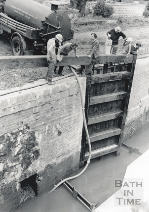 Pumping water from a lock on the Kennet and Avon Canal, Widcombe, Bath 1971