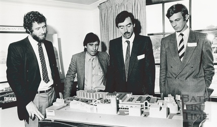Inspecting the architects model for the Podium Centre, October 1985