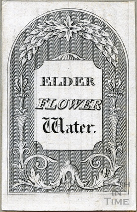 Elder Flower Water bottle label c.1824