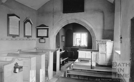 Interior, Old Holcombe Church, near Bath c.1910