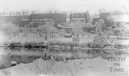 The Kennet and Avon Canal and Sydney Buildings, Bath in winter 1908