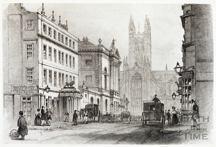 The Market Place, Bath, High Street and The White Lion Inn 1842