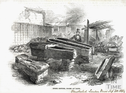 Stone coffins, found in Russell Street 1852