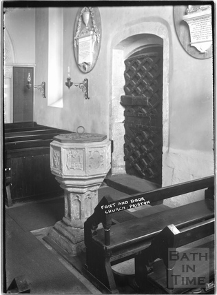 Font and door to church Priston 1932