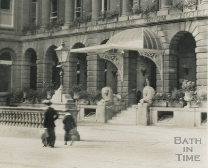 Grand Pump Room Hotel from the corner of Stall Street and Cheap Street c.1910 - detail