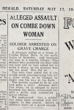 First report of the incident involving American GI Leroy Henry and a lady in Combe Down May 13 1944
