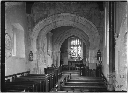 Inside St James Church, Coln St Dennis, Gloucestershire c.1935