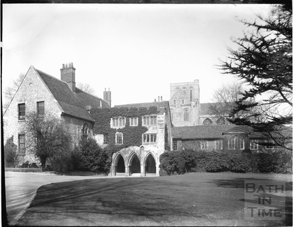The former Prior's House and the tower of Winchester Cathedral c.1910