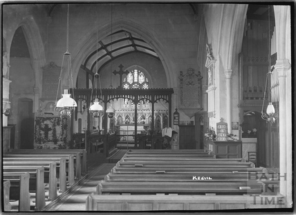Inside Keevil Church, Wiltshire c.1930