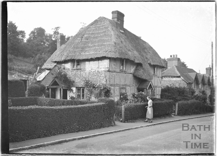 Timber-framed thatched cottage, Erlestoke, Wiltshire c.1930s