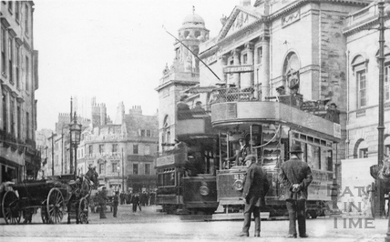 Tram car no.22 leaving the Guildhall for Twerton, Jan-July 1904